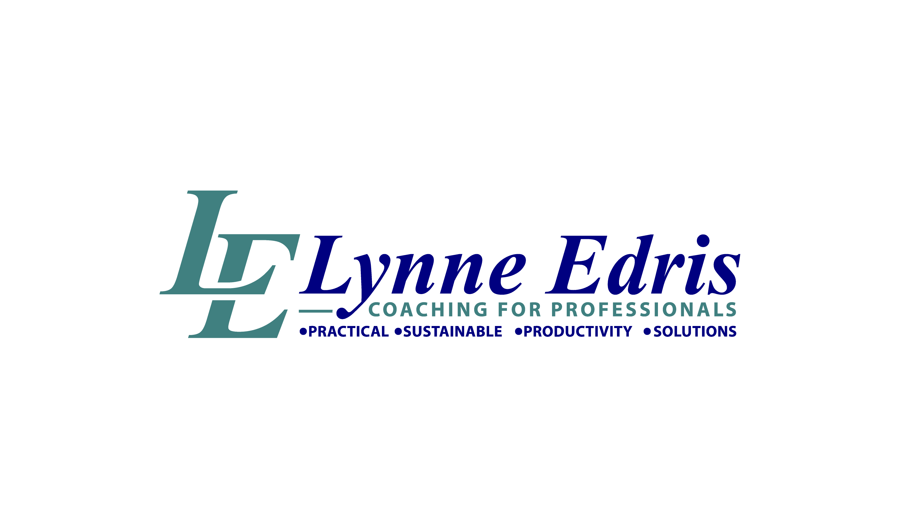 Lynne Edris Coaching for Professionals. Practical. Sustainable. Productivity. Solutions. Logo