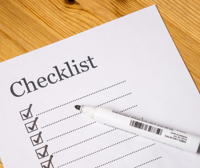 blank checklist with marker