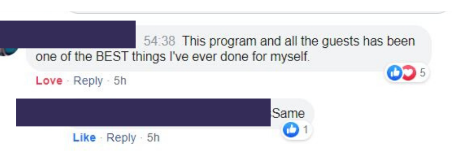 """Time to Thrive anonymous post, """" This program and all the gests has been on of the BEST things I've ever done for myself."""" Anonymous response, """"Same""""."""