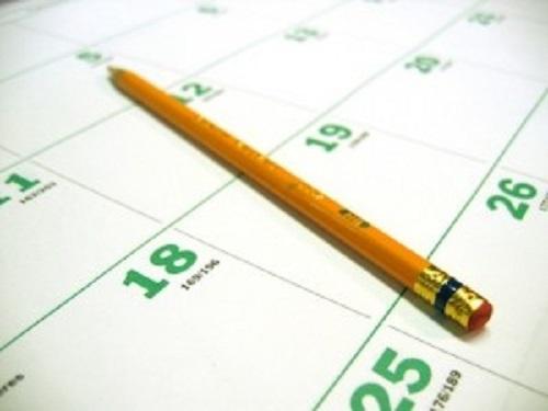Blank calendar with pencil