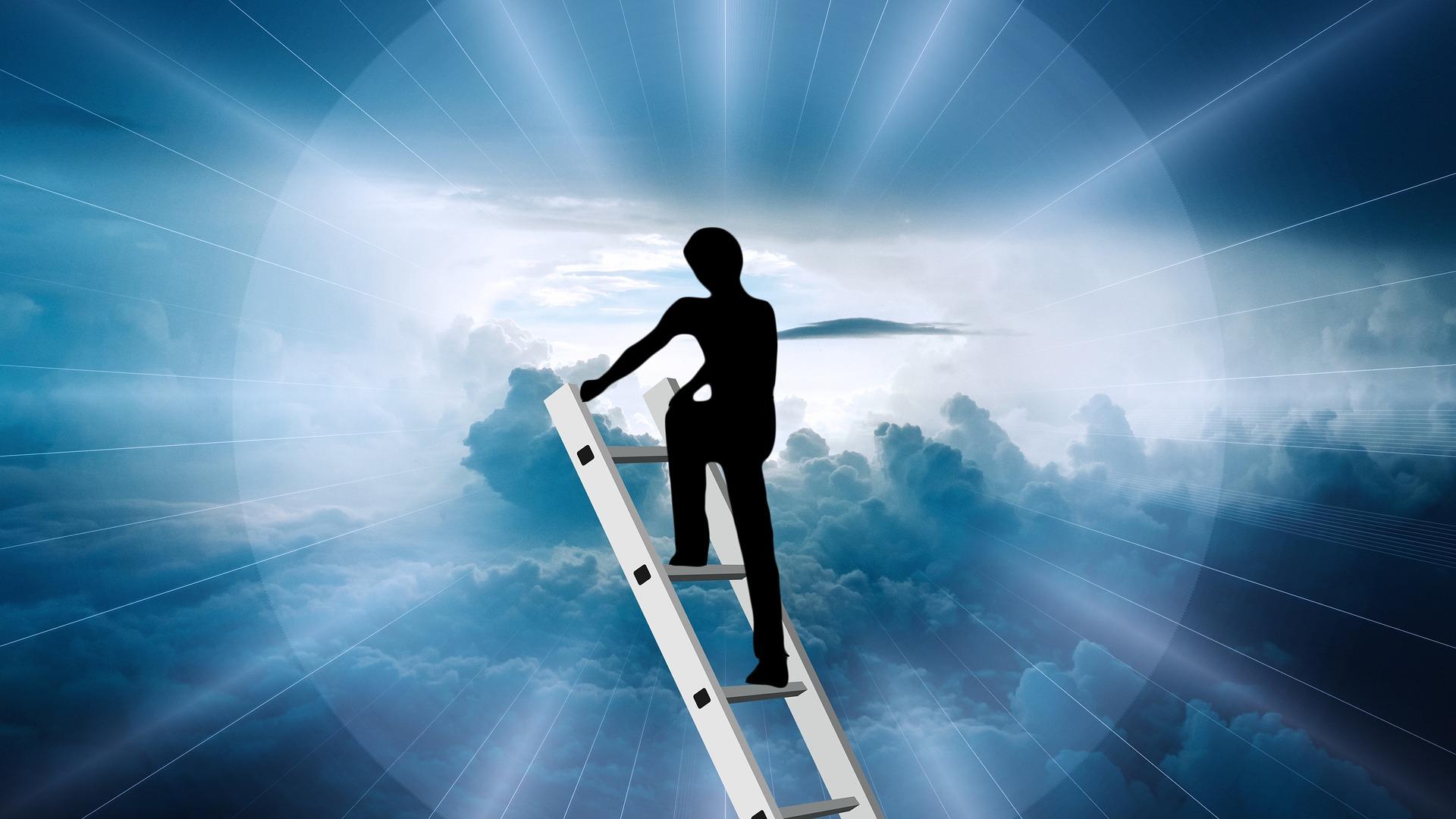 Silhouette climbing ladder to sunlight